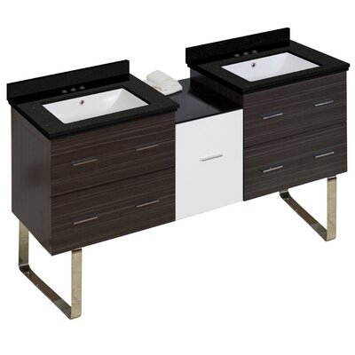 Hinerman 62 Double Bathroom Vanity Set Base/Top Finish: Gray/Black Galaxy, Sink Finish: White, Faucet Mount: 4 Centers