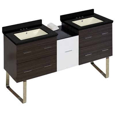 Hinerman 62 Double Bathroom Vanity Set Base/Top Finish: Gray/Black Galaxy, Sink Finish: Biscuit, Faucet Mount: 4 Centers