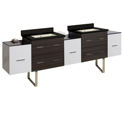 Hinerman 90 Double Bathroom Vanity Set Top Finish: Black Galaxy, Sink Finish: Biscuit, Faucet Mount: 4 Centers