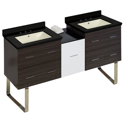 Hinerman 62 Double Bathroom Vanity Set Base/Top Finish: Gray/Black Galaxy, Sink Finish: Biscuit, Faucet Mount: 8 Centers