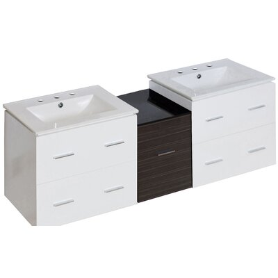 Hinerman 62 Wall-Mounted Double Bathroom Vanity Set Base Finish: White, Faucet Mount: 8 Centers
