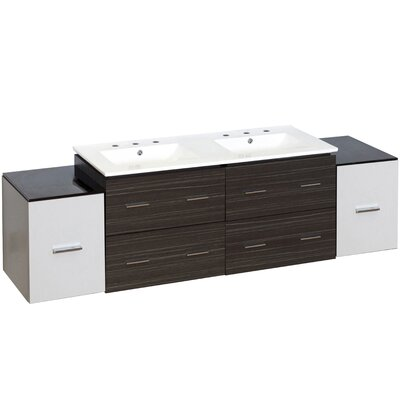 Hinerman 76 Wall-Mounted Double Bathroom Vanity Set Faucet Mount: 8 Centers, Base Finish: White/Dawn Gray