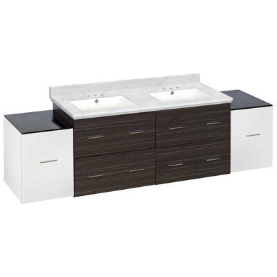 Hinerman 76 Wall-Mounted Double Bathroom Vanity Set Top Finish: Bianca Carrara, Sink Finish: White, Faucet Mount: 4 Centers