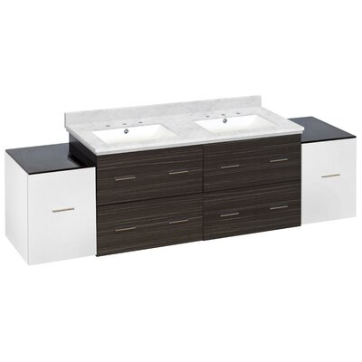 Hinerman 76 Wall-Mounted Double Bathroom Vanity Set Top Finish: Bianca Carrara, Sink Finish: White, Faucet Mount: 8 Centers