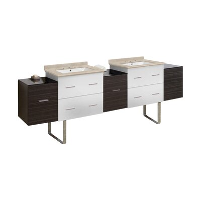 Hinerman 89 Double Bathroom Vanity Set Top Finish: Beige, Sink Finish: White, Faucet Mount: 8 Centers