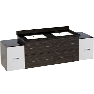 Hinerman 76 Wall-Mounted Double Bathroom Vanity Set Top Finish: Black Galaxy, Sink Finish: White, Faucet Mount: 4 Centers