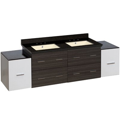 Barrs 76 Double Bathroom Vanity Set Base Finish: White/Dawn Gray, Top Finish: Black Galaxy, Sink Finish: Biscuit