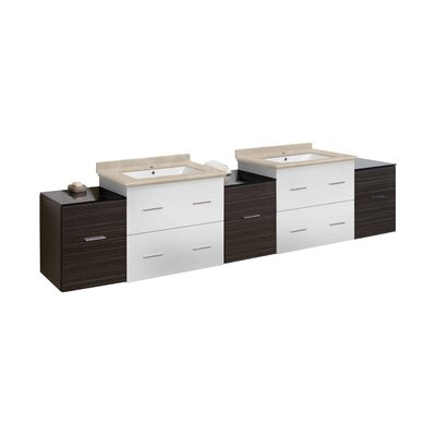 Hinerman 89 Wall-Mounted Double Bathroom Vanity Set Top Finish: Beige, Sink Finish: White, Faucet Mount: Single Hole