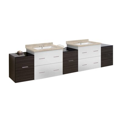 Hinerman 89 Wall-Mounted Double Bathroom Vanity Set Top Finish: Beige, Sink Finish: White, Faucet Mount: 4 Centers