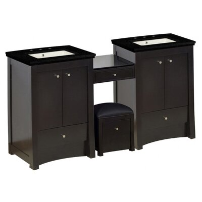 Vangundy 85Double Bathroom Vanity Set Top Finish: Black Galaxy, Sink Finish: Biscuit, Faucet Mount: 8 Centers