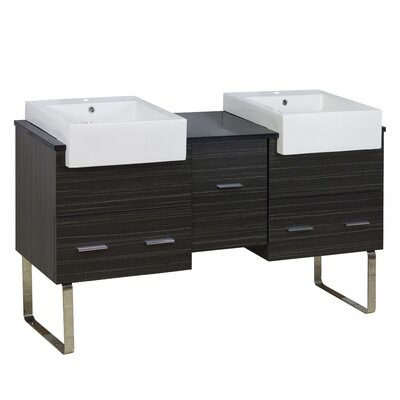 Hindman 60 Double Bathroom Vanity Set Base Finish: Dawn Gray, Faucet Mount: Single Hole