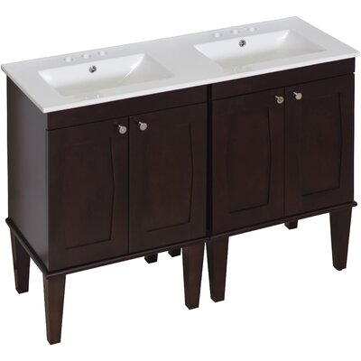 Tammaro 48 Double Bathroom Vanity Set Faucet Mount: 4 Centers