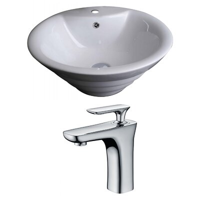 Above Counter Ceramic Circular Vessel Bathroom Sink with Faucet and Overflow