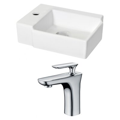 Ceramic 16.25 Wall Mount Bathroom Sink with Faucet