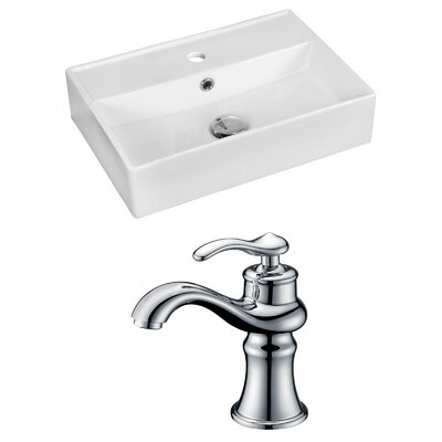 Ceramic 20 Bathroom Sink with Faucet and Overflow Installation Type: Vessel Sinks