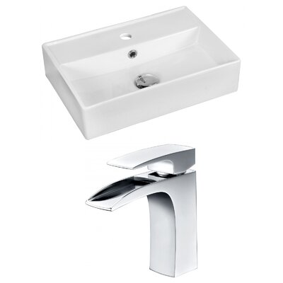 Ceramic 20 Bathroom Sink with Faucet and Overflow Installation Type: Wall Mount Sinks