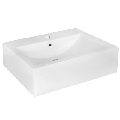 Ceramic 20 Wall-Mount Bathroom Sink with Overflow Faucet Mount: Single