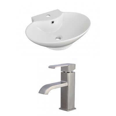 Ceramic 23 Bathroom Sink with Faucet and Overflow Installation Type: Vessel Sinks