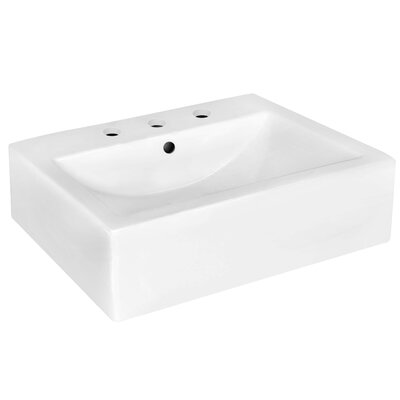 Ceramic 20 Wall-Mount Bathroom Sink with Overflow Faucet Mount: 8 Centers