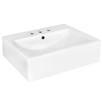 Ceramic 20 Wall-Mount Bathroom Sink with Overflow Faucet Mount: 4 Centers