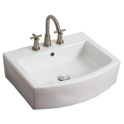 Above Counter Ceramic Rectangular Vessel Bathroom Sink with Overflow Faucet Mount: 8 Centers