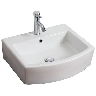 Ceramic 22 Wall-Mount Bathroom Sink with Overflow Faucet Mount: Single