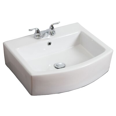 Ceramic 22 Wall-Mount Bathroom Sink with Overflow Faucet Mount: 4 Centers