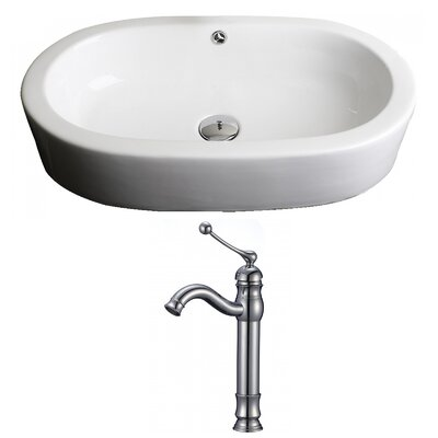 Semi-Recessed Ceramic Oval Vessel Bathroom Sink with Faucet and Overflow