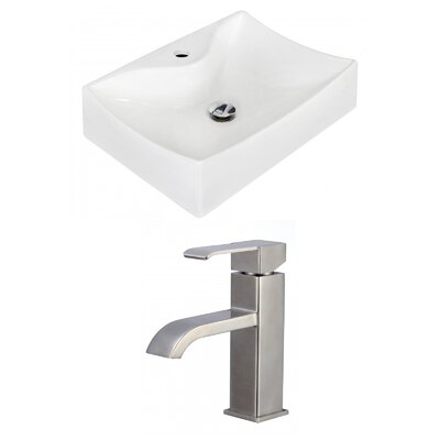 Ceramic 21.5 Bathroom Sink with Faucet Installation Type: Vessel Sinks