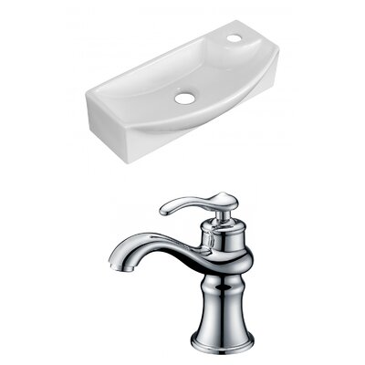 Ceramic 17.75 Wall Mount Bathroom Sink with Faucet