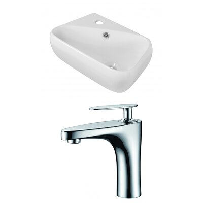 Ceramic 17.75 Bathroom Sink with Faucet and Overflow Installation Type: Wall Mount Sinks