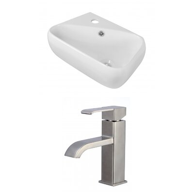 Ceramic 17.75 Bathroom Sink with Faucet and Overflow Installation Type: Vessel Sinks