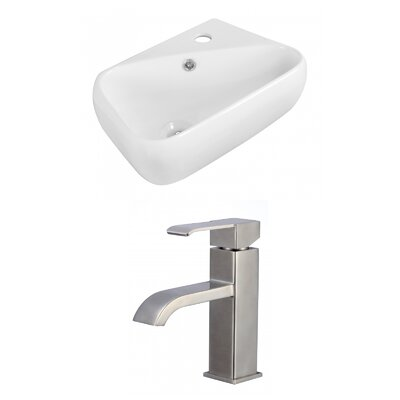 Ceramic 17.5 Wall Mount Bathroom Sink with Faucet and Overflow
