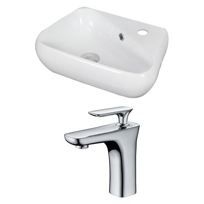 Ceramic Specialty Vessel Bathroom Sink with Faucet and Overflow