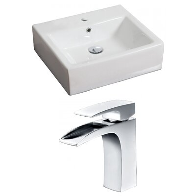 Ceramic 21 Wall-Mount Bathroom Sink with Faucet and Overflow