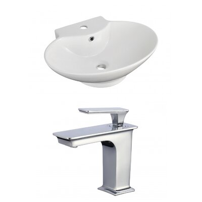 Ceramic 23 Wall-Mount Bathroom Sink with Faucet and Overflow