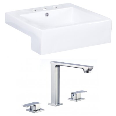 Xena Farmhouse Semi-Recessed Ceramic Square Vessel Bathroom Sink with Faucet and Overflow