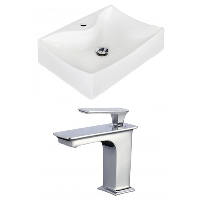 Ceramic 22 Bathroom Sink with Faucet Installation Type: Wall Mount Sinks