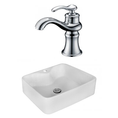 Above Counter Ceramic Rectangular Vessel Bathroom Sink with Faucet