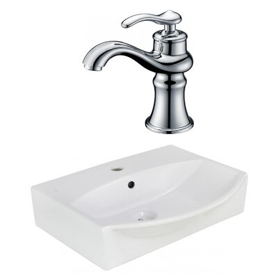 Ceramic U-Shaped Bathroom Sink with Faucet and Overflow Installation Type: Wall Mount