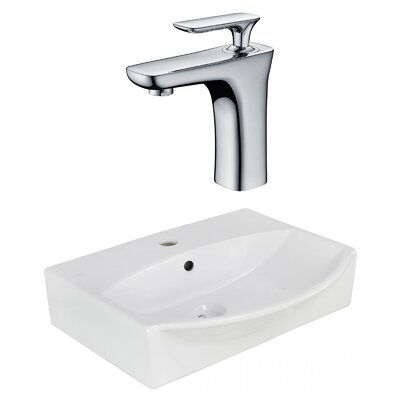 Ceramic U-Shaped Wall Mount Bathroom Sink with Faucet and Overflow