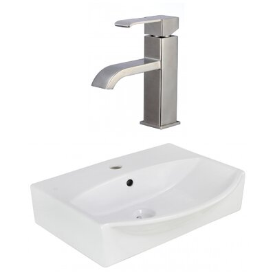 Ceramic U-Shaped Bathroom Sink with Faucet and Overflow Installation Type: Above Counter