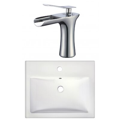 Semi-Recessed Rectangular Vessel Bathroom Sink with Faucet