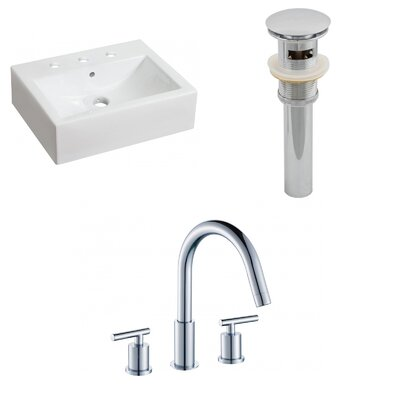Ceramic Rectangular Bathroom Sink with Faucet and Overflow Installation Type: Above Counter