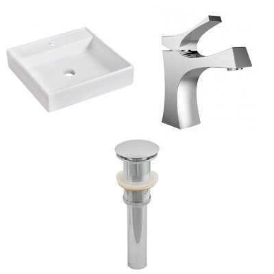 Ceramic Square Bathroom Sink with Faucet Installation Type: Above Counter