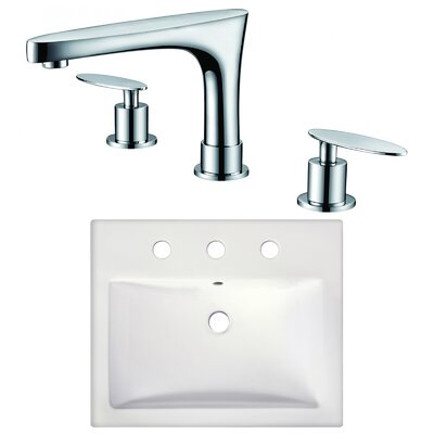 Xena Farmhouse Semi-Recessed Rectangular Vessel Bathroom Sink with Faucet