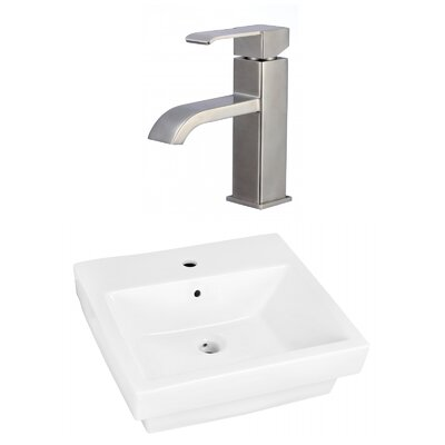 Ceramic Rectangular Bathroom Sink with Faucet and Overflow Installation Type: Semi-Recessed Sink