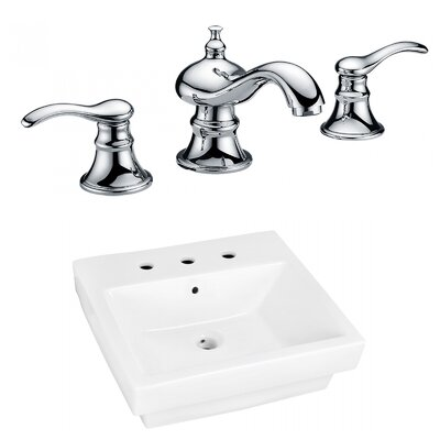 Ceramic Rectangular Bathroom Sink with Faucet and Overflow Installation Type: Semi-Recessed Sinks