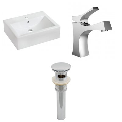 Ceramic 16 Wall Mount Bathroom Sink with Faucet and Overflow