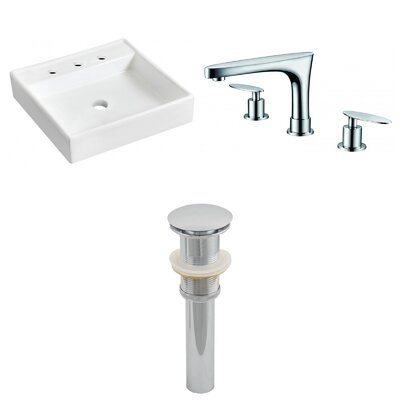 Ceramic Square Bathroom Sink with Faucet Installation Type: Wall Mount